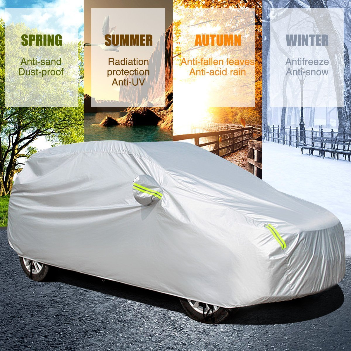 185L X 70.9W X 59.1H MATCC Car Cover Waterproof and UV Proof Outdoor or Indoor Breathable Auto Cover for Full Car Fits Sedan Protect from Moisture Corrosion Dust Dirt Scrapes