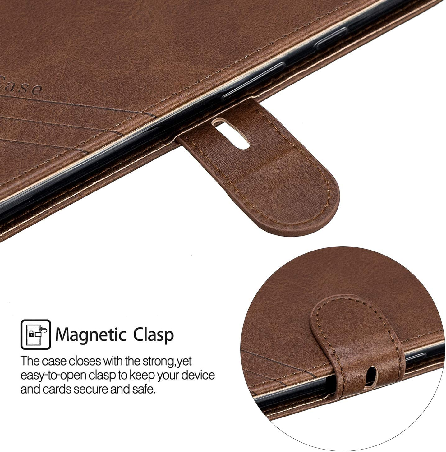 NEXCURIO Wallet Case for Google Pixel 3a with Card Holder Side Pocket Kickstand Shockproof Leather Flip Cover Case for Google Pixel3a NEHEX120406 Red