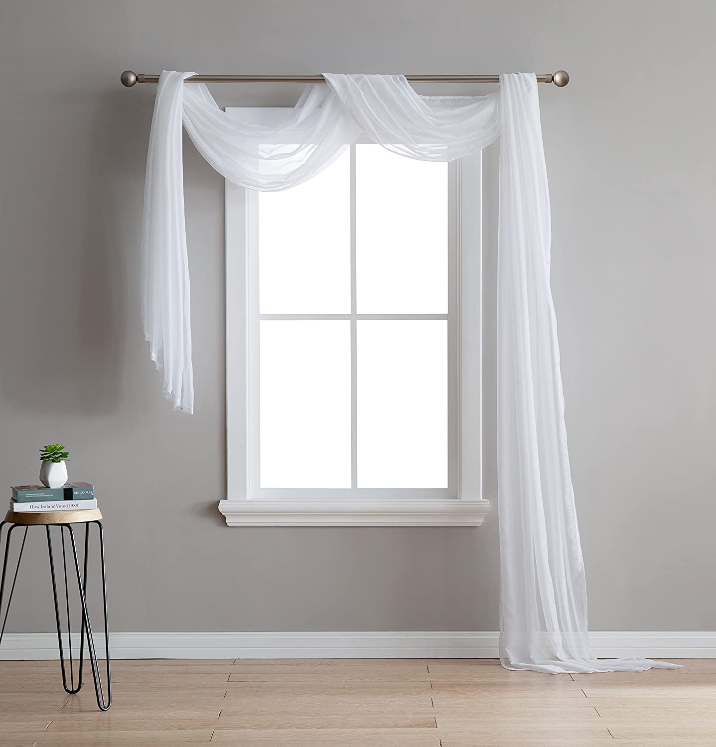 Karina - Semi-Sheer Window Scarf (54 x 216) - Elegant Home Decor Window Treatments