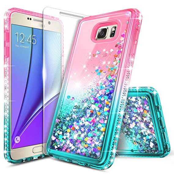 13b545ea8cd Galaxy S7 Case with Tempered Glass Screen Protector for Girls Women Kids,  NageBee Glitter Liquid