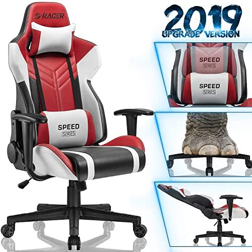 Homall Gaming Chair Racing Style High-Back PU Leather Office Chair Computer Desk Chair Executive and Ergonomic Swivel Chair with Headrest and Lumbar Support Red