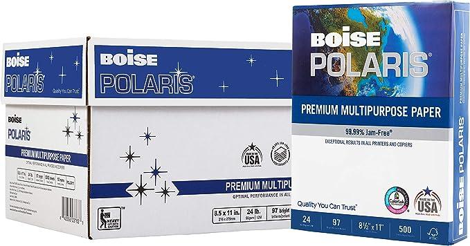 Boise Copy Paper CASPOL2411 8 1//2 x 11 5,000 Sheets per Carton 24lb White