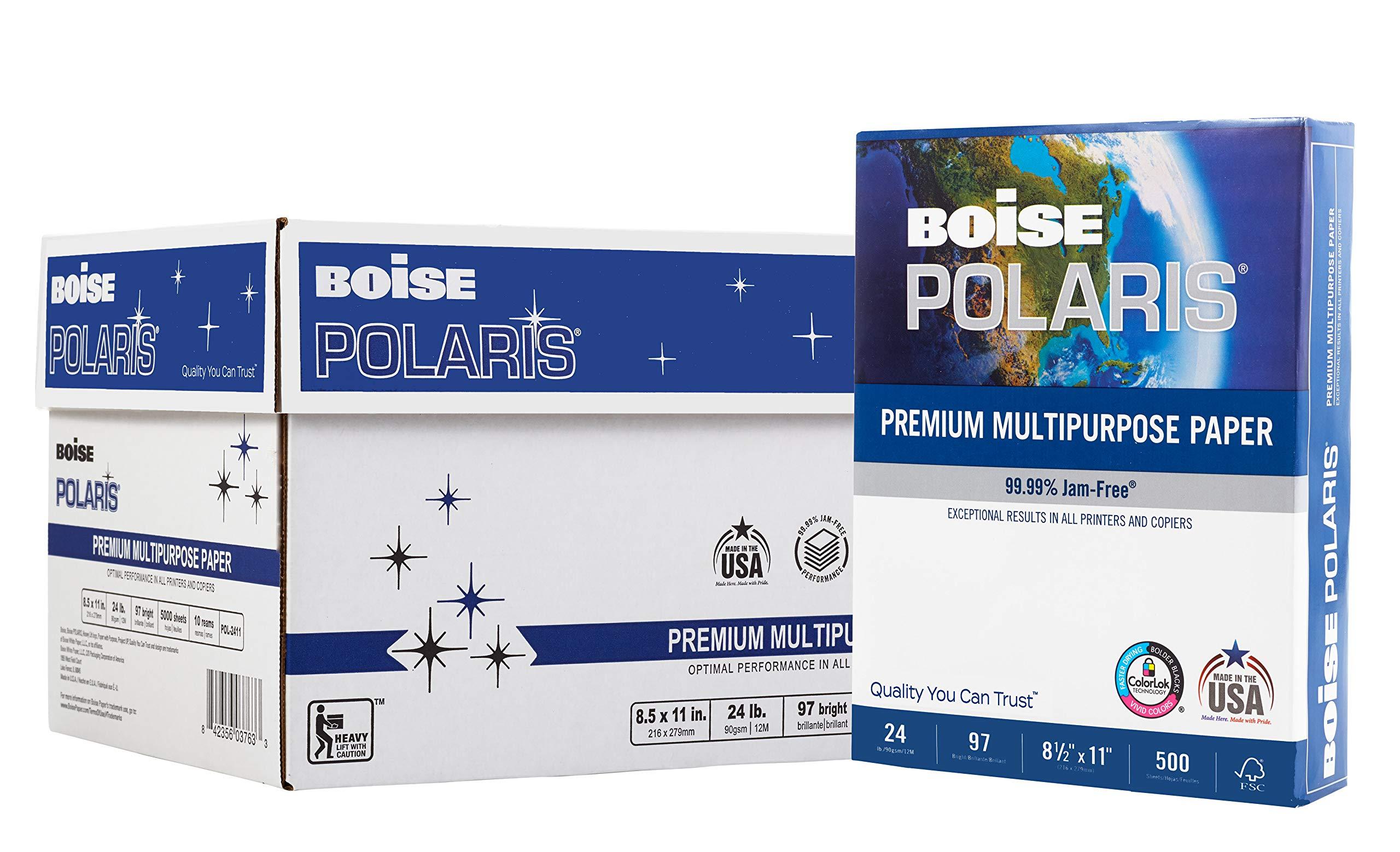 BOISE POLARIS Premium Multipurpose Paper, 8.5 x 11, 97 Bright White, 24 lb, 10 ream carton (5,000 Sheets) by Boise Paper