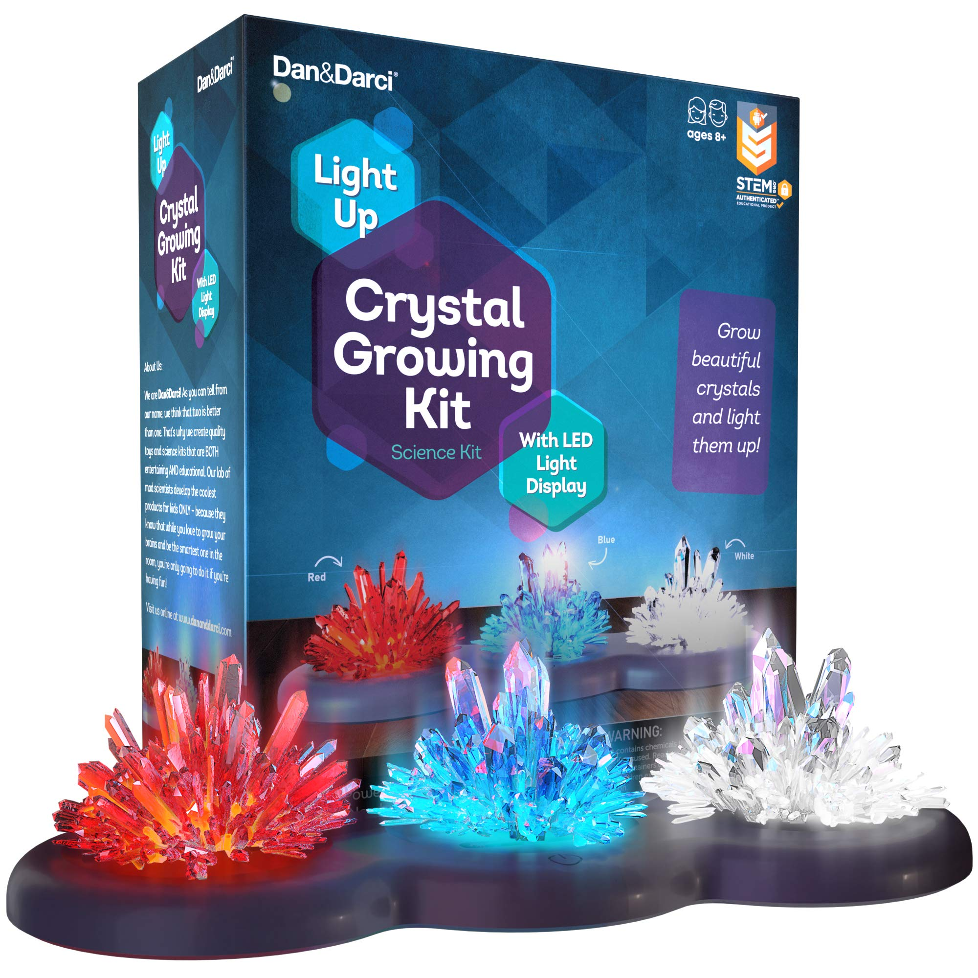 Light-up Crystal Growing Kit for Kids - Grow Your Own Crystals and Make Them Glow : Great Science Experiments Gifts for Kids, Boys & Girls - STEM Toys - Crystal Making Science Kit (Red White Blue) by Dan&Darci