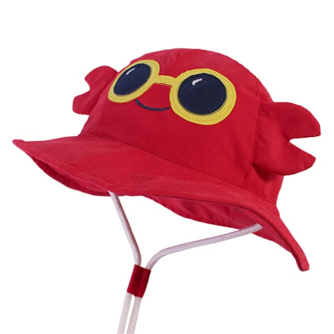 2dedb80c LANGZHEN Kids Sun Protection hat Cute Animals Designed Toddler Boys Girls  Bucket hat (Crimson -