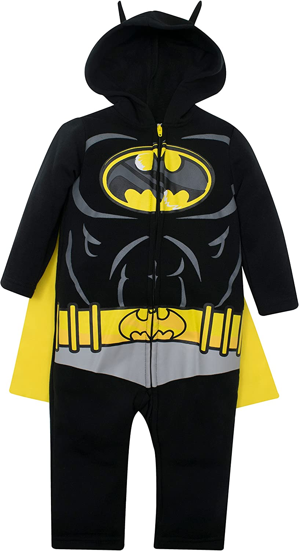 Warner Bros. DC Comics Mono y Capa de Batman de Liga de la Justicia con Cierre de Cremallera - Elegante Conjunto de Disfraz para Bebé (3-6 Meses)