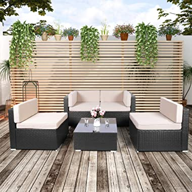 U-MAX Patio PE Rattan Wicker Sofa Set 5 Pieces Black Outdoor Sectional Furniture Chair Set with Cushions and Tea Table