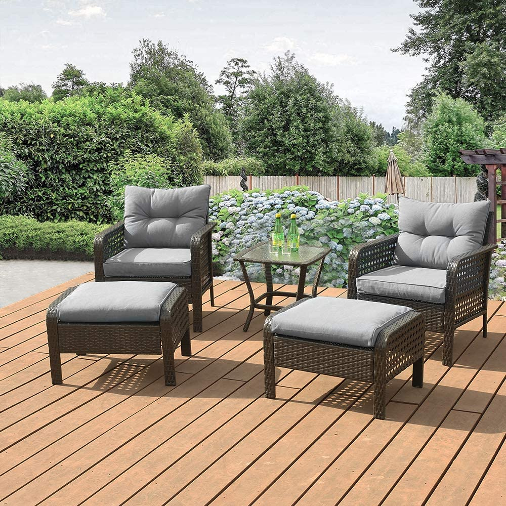 Okeysen Patio Outdoor Furniture Sets, 5 Pcs with Ottoman, All-Weather Checkered Wicker Rattan Conversation Sofa Set, Glass Coffee Table with Removable Cushion.(Grey)