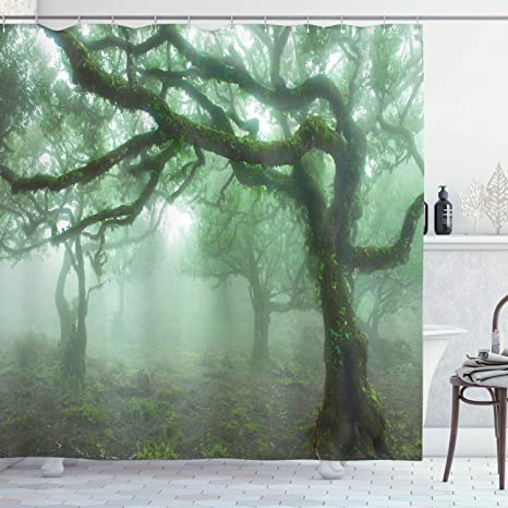 Amazon Com Ambesonne Forest Shower Curtain Laurel Forest In Portugal Foggy October Day Wild Exotic Nature Photo Print Cloth Fabric Bathroom Decor Set With Hooks 70 Long Green Brown Home Kitchen