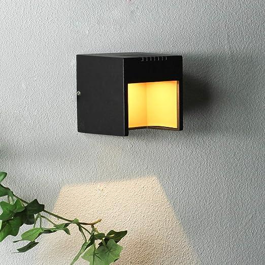 Aplique de pared LED negro/sólo 3W de consumo 230V IP44 / Aplique de pared de exterior Iluminación de la terraza de entrada Luz de jardín de exterior: Amazon.es: Iluminación