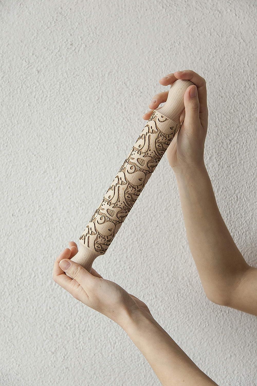 LeonardiWood Mattarello decorativo Gli Animali Del Bosco 25 cm