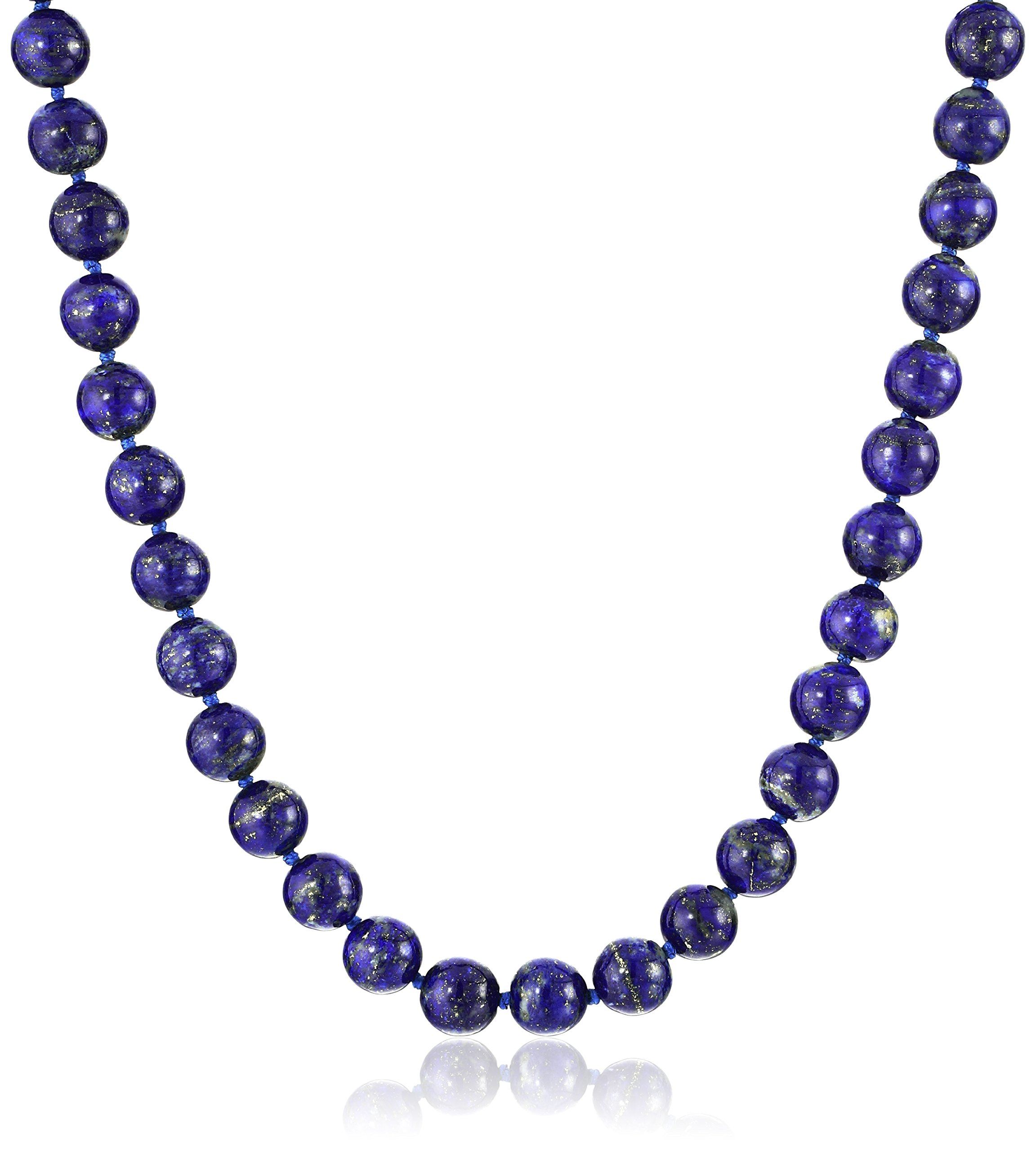 Sterling Silver 8mm Lapis Lazuli Bead Necklace, 24''