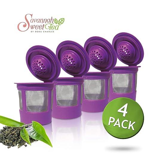 Paquete de 4 filtros de té de malla reutilizables chapados en oro ...