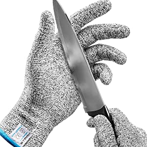 Stark Safe Cut Resistant Gloves (1 Pair) Food Grade Level 5 Protection, Safety Cutting Gloves for Kitchen, Mandolin Slicing, Fish Fillet, Oyster Shucking, Meat Cutting and Wood Carving - Large