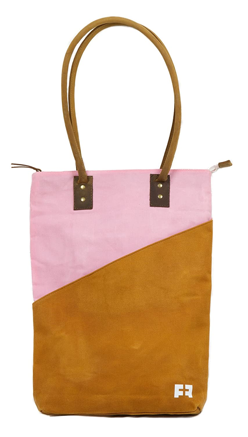 b0157ba880c Large Waxed Canvas Tote Bag: Zippered Shoulder Purse with Genuine Leather  Straps
