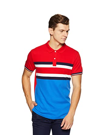 a53a90cf7 TOMMY HILFIGER Men's Striped Slim Fit Polo: Amazon.in: Clothing &  Accessories