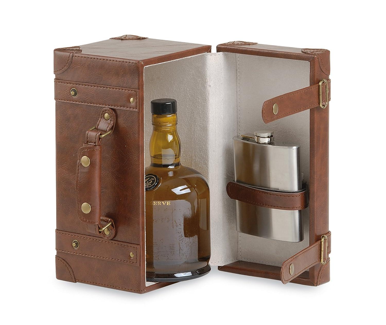 Renoir - Cassetta TOSCA per Bottiglia Liquore - Include Fiaschetta in Acciaio