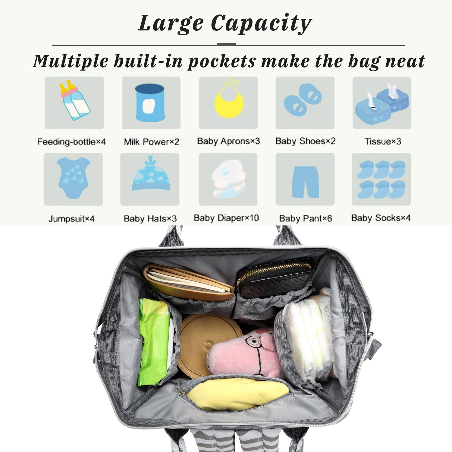 Chevron Diaper Bag Changing Nappy Backpack with Wide Open Design Large Capacity Waterproof Mummy Bag Multi-Function Stylish for Mom//Dad Travel with Baby