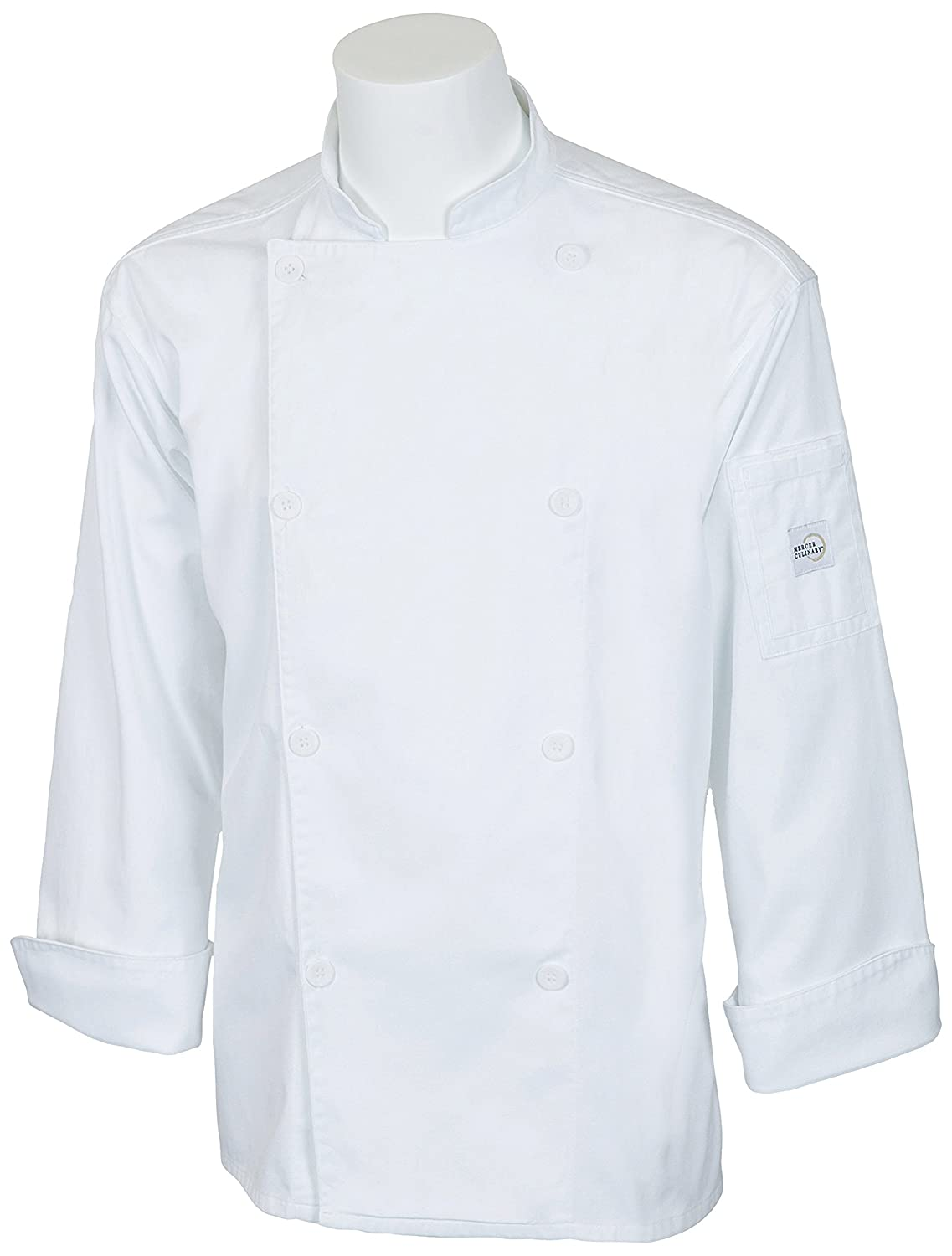 Mercer Culinary M61010BK4X Genesis Unisex Chef Jacket with Traditional Buttons, 4X-Large, Black
