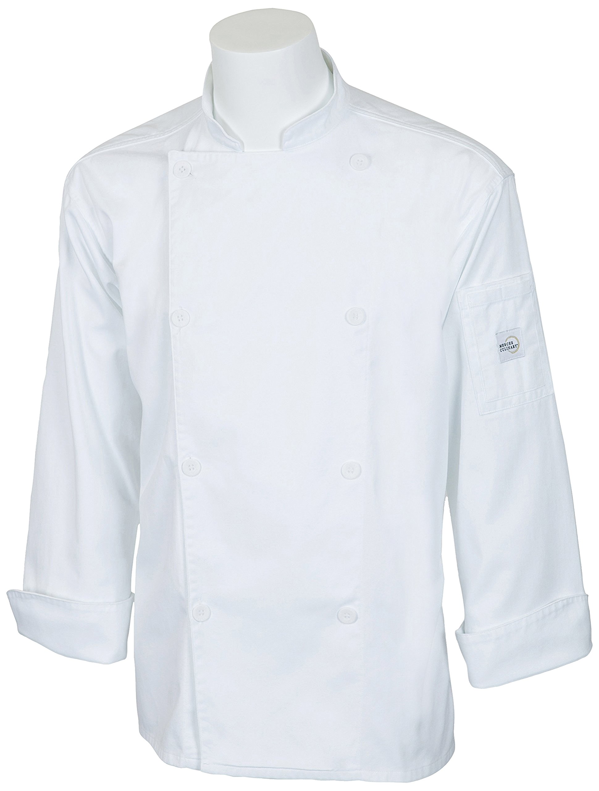 Mercer Culinary M61010WH8X Genesis Men's Chef Jacket with Traditional Buttons, 8X-Large, White