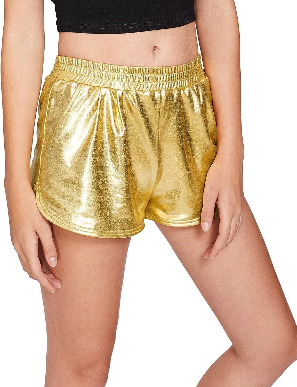 Jollymoda Womens Yoga Hot Shorts Shiny Metallic Pants