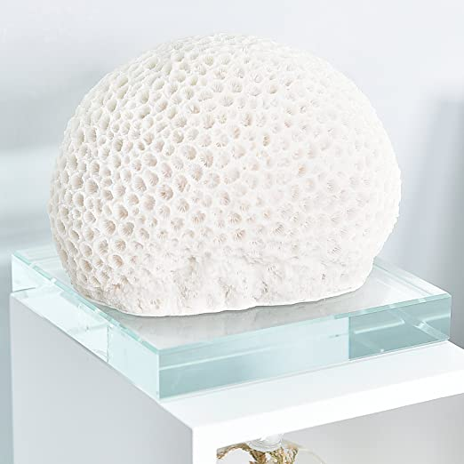 Christmas Tablescape Decor - Small white faux pillow coral head tabletop décor