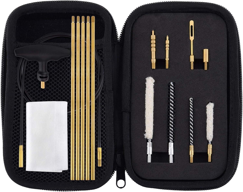 BOOSTEADY .177 Cal & .22 Cal Limpieza Kit para Carabina de Aire Comprimido Pistola de Aire con Algodón Mop Varilla de Latón Cepillos de Nylon en Compacto Estuche