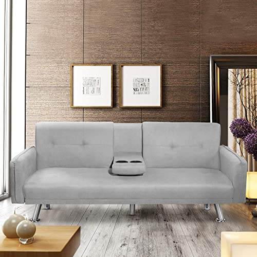 Suwikeke Futon Sofa Faux Leather Couch Bed Modern Convertible Folding Recliner