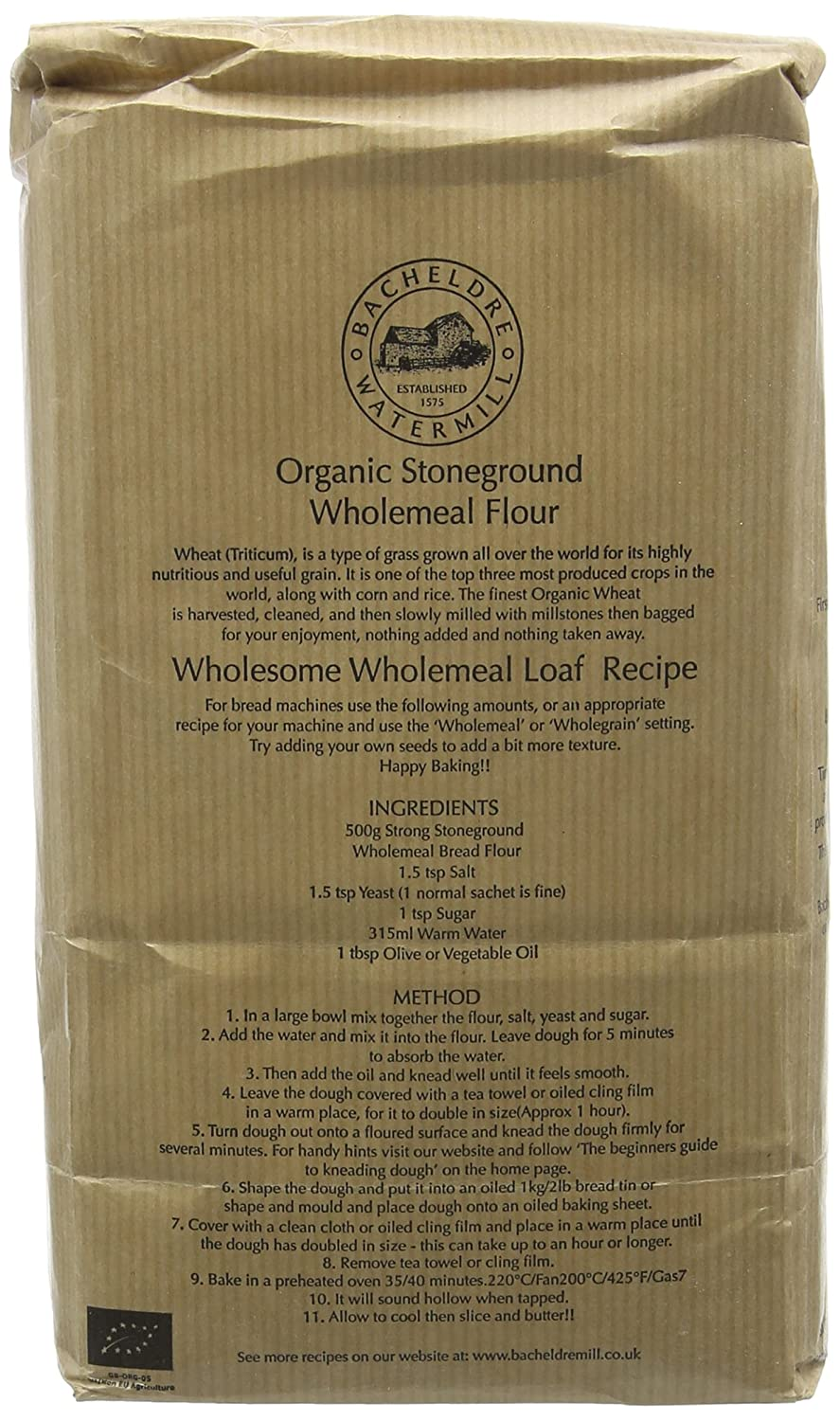 Bacheldre Watermill Organic Stoneground Strong 100 Wholemeal Flour 1 5 Kg Pack Of 4 Amazon Co Uk Grocery