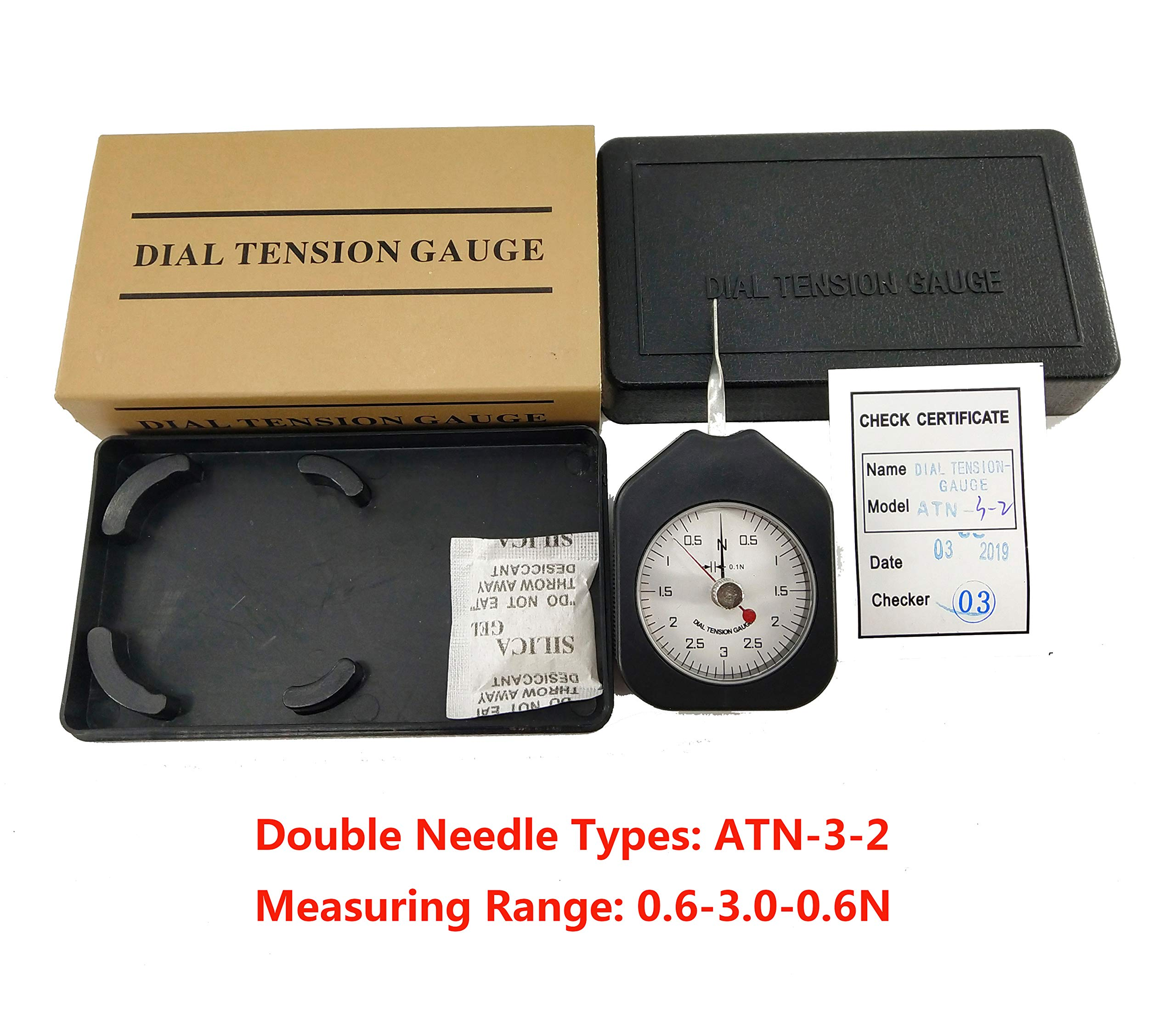 HFBTE ATN-3-2 Double Pointer Mini Tension Gauge Tensionmeter with Measuring Range 0.6-3.0-0.6N Division Value 0.1N by HFBTE