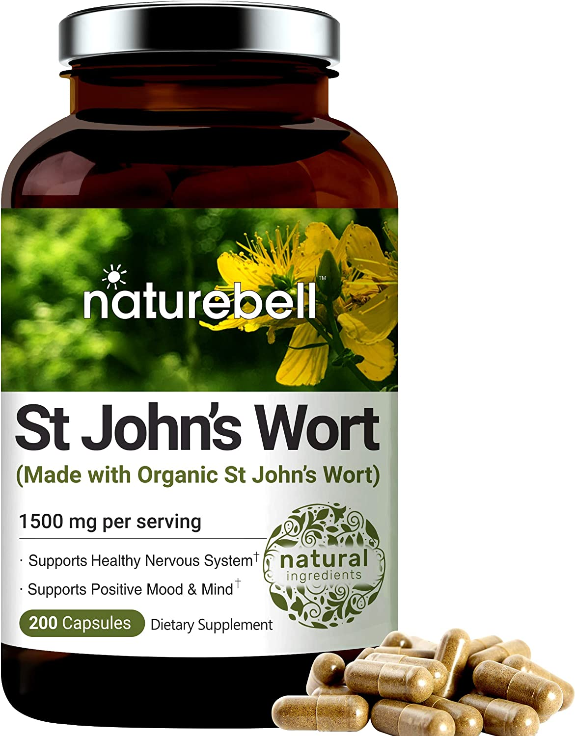 St John's Wort Supplement, Made with Organic St John's Wort Complex, 1500 mg Per Serving, 200 Capsules, Strongly Supports Positive Mood, Mind and Nervous System, No GMOs: Health & Personal Care