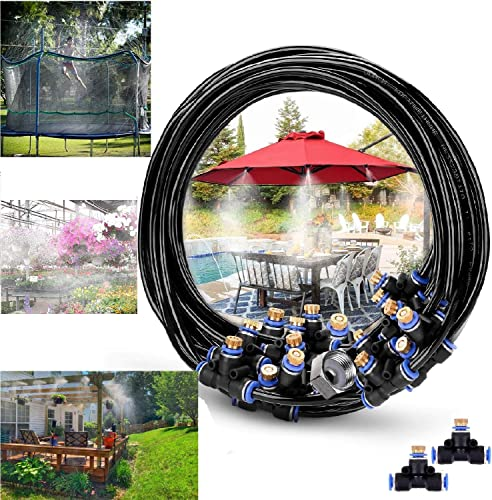 RUITN Misting Cooling System 76ft Misting Line 33 Brass Mist Nozzles Brass Adapter 3 4 Outdoor Misters for Patio Garden Greenhouse Trampoline waterpark