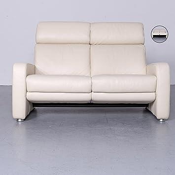 Willi Schillig Designer Sofa Leder Beige Echtleder Couch Zweisitzer