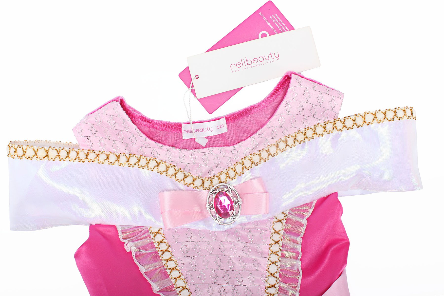 ReliBeauty Girls Drop Shoulder Princess Aurora Costume Dress up, Hot Pink, 7-8 by ReliBeauty (Image #5)