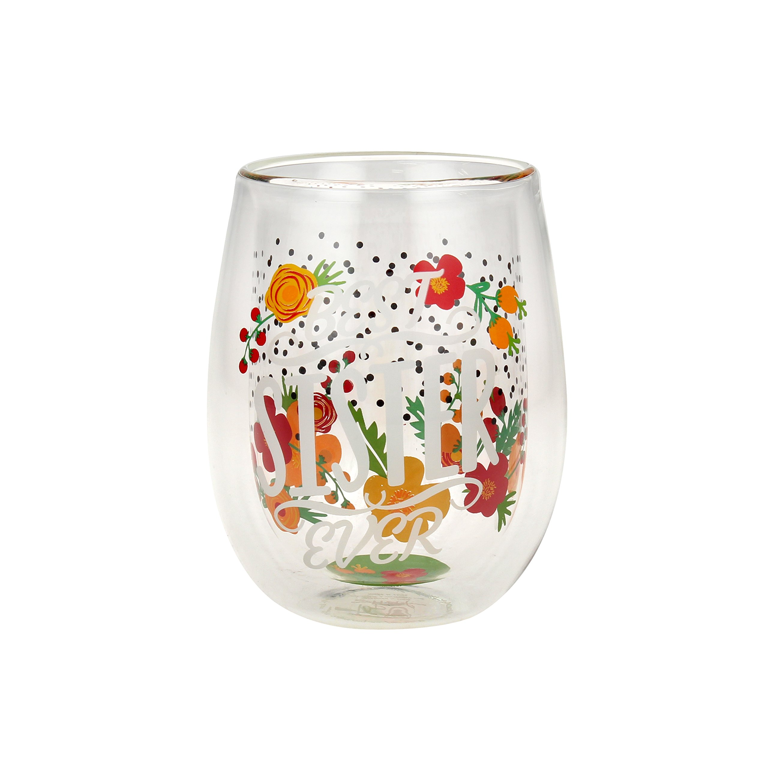 Top Shelf Double Wall Stemless ''Best Sister Ever'' Wine Glass, Multicolor, Red or White Wine, Unique & Fun Gift Idea for Birthdays, Christmas, or Any Holiday