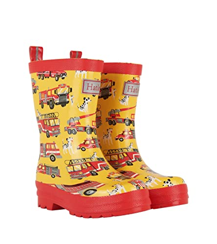 Hatley Printed Rain Boots, Jungen Arbeits-Gummistiefel, Gelb (Fire Trucks), 28 (11 UK)