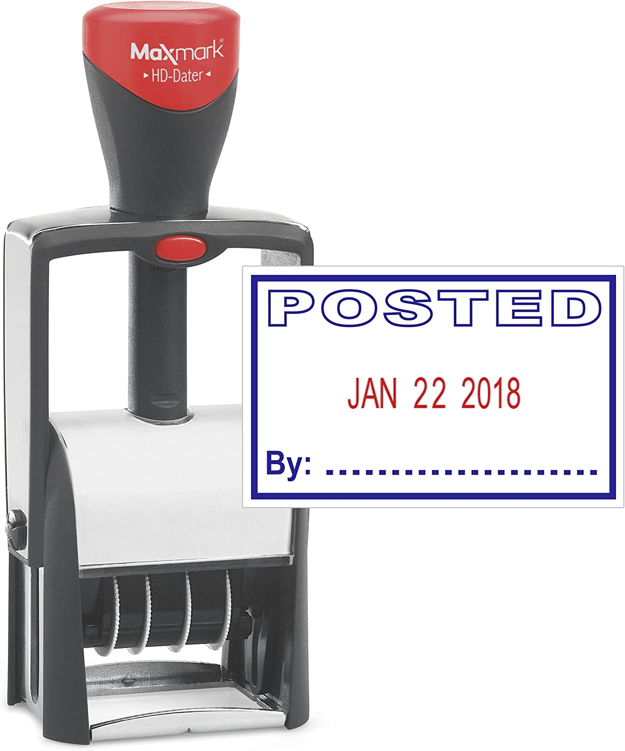"Heavy Duty Date Stamp with""Posted"" Self Inking Stamp - 2 Color Blue/Red Ink"