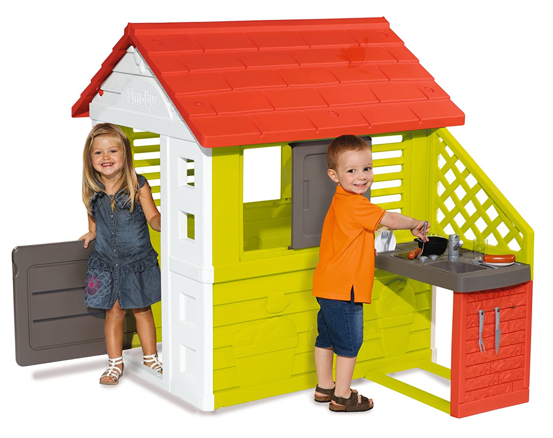 Smoby-310064 Casa de jard/ín Color Azul 112.8 x 99.8 x 20.1 310064