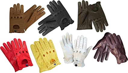 Men/'s Leather Driving Gloves Top Quality Soft Leather