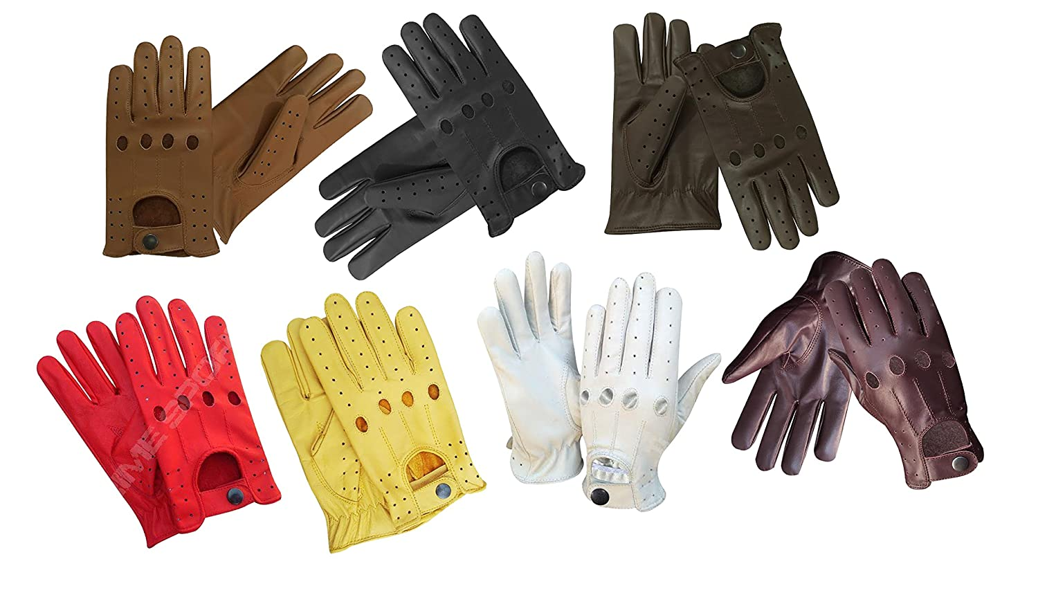 NEW Real Soft Leather Mens Top Quality Driving Gloves Stylish Fashion D-507 All (Black, Small) PRIME LEATHER