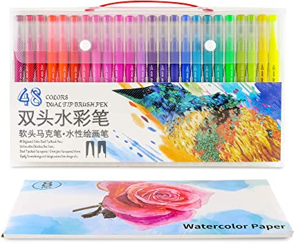 Calligraphy Sketching Manga Art DIY 48 Colors Dual Brush Pen Art Markers Non Toxic Water-Based Ink 0.4mm Fineliner/&1-2mm Brush Tips Contains 8 Sheets of 300g Watercolor Paper for Coloring