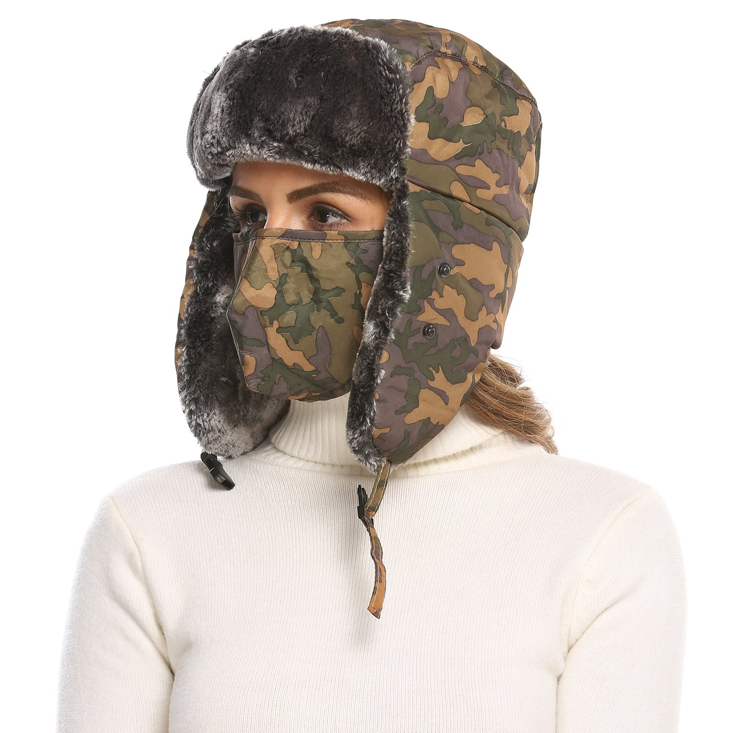 2017 Winter Ear Flap Hat Trapper Hat with Windproof Mask Yellow Camo