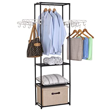 WOLTU Double Rail Rod Clothing Garment Rack Hanging With 4 Hooks 3 Tiers  Shelves Freestanding