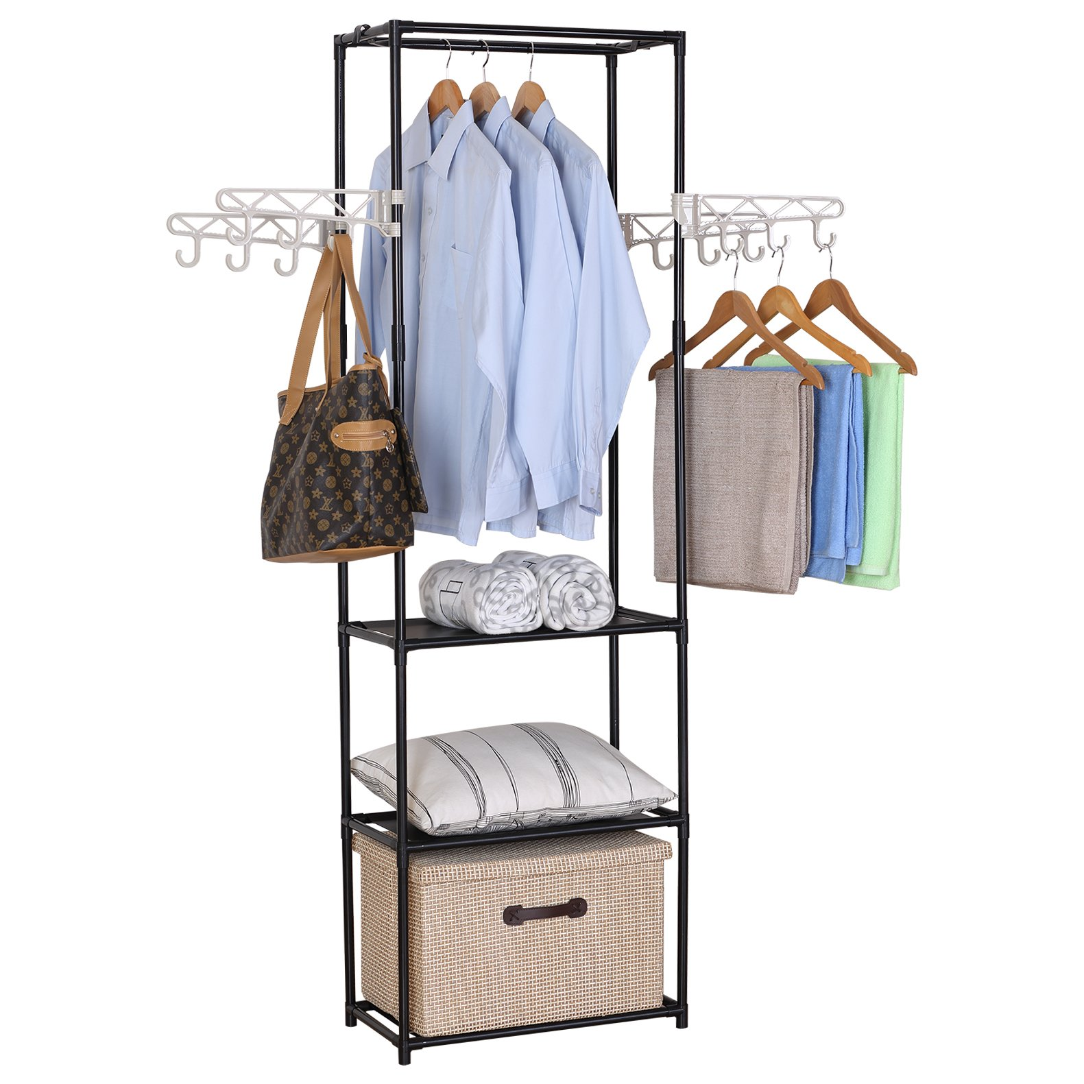 WOLTU Double-rail Rod Clothing Garment Rack Hanging with 4 Hooks 3 Tiers Shelves Freestanding Closet Shoe Organizer Black