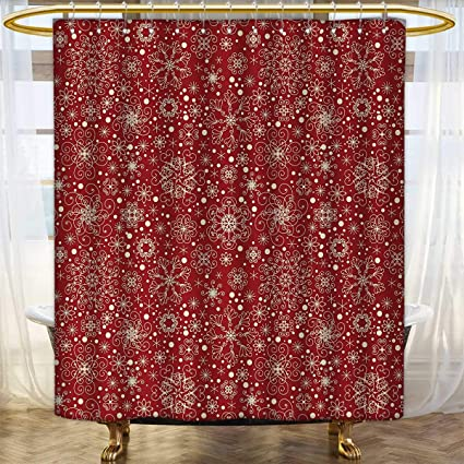 Anhounine Red Print Shower Curtain Filigree Style Snowflakes With Skinny Curl Details Cheerful Yuletide Inspiration In