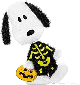ProductWorks 36215_L2D Peanuts Snoopy Skeleton LED 2 Dimensional Halloween Yard Art with 30 Lights Seasonal Décor