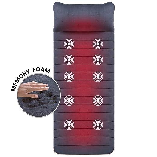 SNAILAX Massage Mat with Heat, Memory Foam,6 Therapy Heating pad,10 Vibration Motors Massage Mattress Pad, Full Body Massager Cushion Relieve Neck, Back, Waist, Legs Pain SL363M