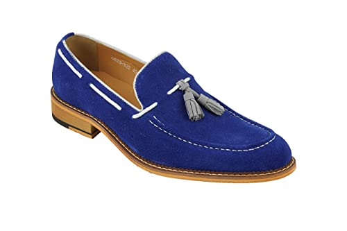 Mens Royal Blue Real Suede Leather Vintage White Rope Tassel Loafers Slip On Shoes