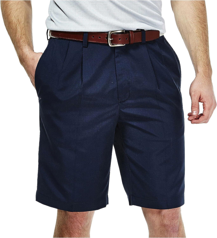 Haggar Men's Cool 18 Pleat Front Hidden Expandable Waist Short at  Men's Clothing store: Men S Haggar Pants