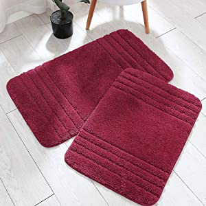 COSY HOMEER 30x18 Inch/24X17 Inch Bath Rugs 2pcs Set Made of 100% Polyester Extra Soft and Non Slip Bathroom Mats Specialized in Machine Washable and Water Absorbent Shower Mat (Burgundy)
